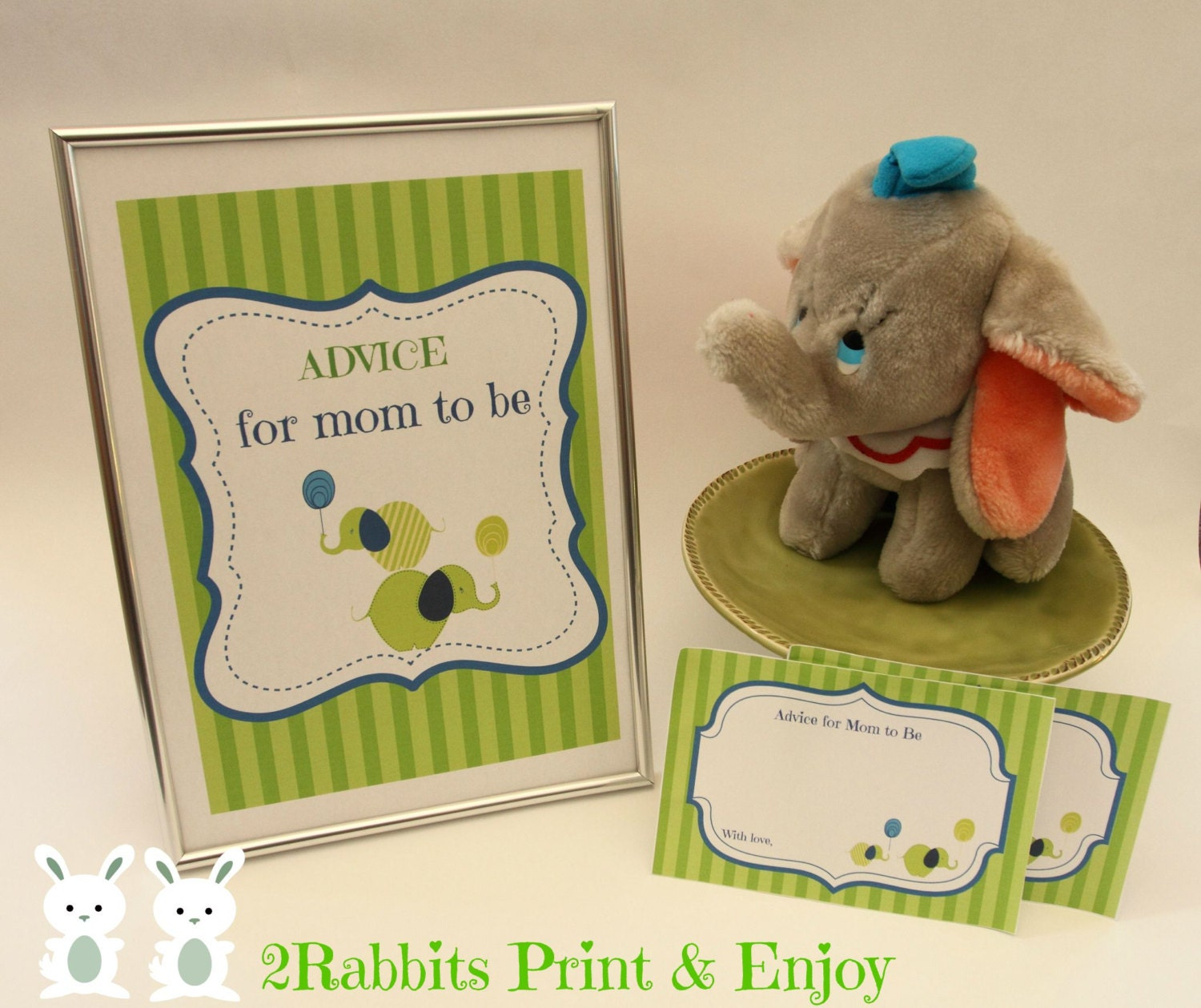 Elephant Baby Shower Advice For Mom To Be Cards With Sign