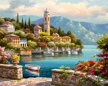 Chart Needlework Craft Embroidery DIY DMC Counted Cross Stitch Pattern PDF Oil painting 14/18/22 ct Scenic - Village Clock Tower