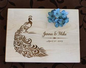 Personalized Custom Cutting Board Peacock Wedding Engagement Anniversary Housewarming Hostess Bamboo Kitchen Art