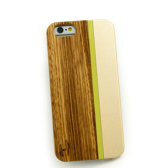 Wood with metal design case for the iPhone 6: Zebrano wood