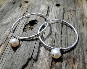 """Sterling Silver Pearl Hoop Earrings """"Seaside Pearl"""""""