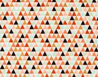 Piper spa, coral, pink, gold, and blue Triangles Fabric - 100% Cotton Quilting Apparel Crafts Home decor