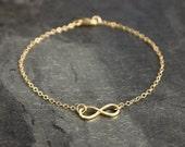 14K Solid Gold Bracelet, Infinity Bracelet, 14K Gold Bracelet, Layering Jewelry, Knot Bracelet, Anniversary Gift