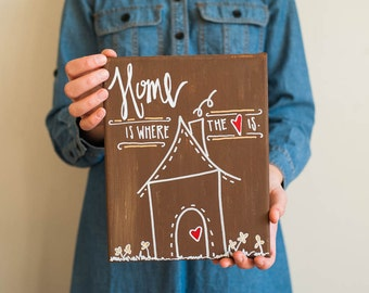 Canvas Quote: Home is where the heart is. Gingerbread study. Love. Home decor. Handpainted. House, heart, and whimsical design. Customize.