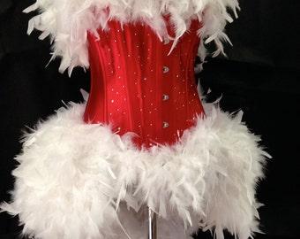 Burlesque Feather Bustle Dress - Burlesque Santa/Father Christmas Costume