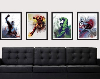 Graffiti Style Super Heroes Poster Set - Includes 4 Posters Captain America, Iron Man, Hulk, and Thor - A3 and 13 x 19