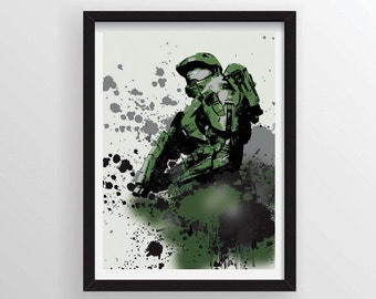 Master Chief Poster in Graffiti Paint Splatter Style - A3 and 13 x 19 Available