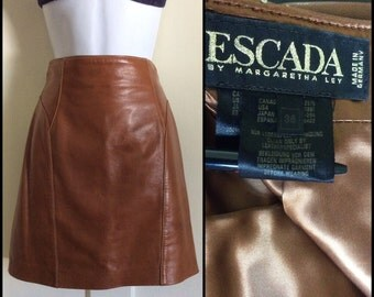 Vintage 1990's ESCADA Designer Soft Leather High Waist Mini Skirt size 36 by Margaretha Ley made in Germany