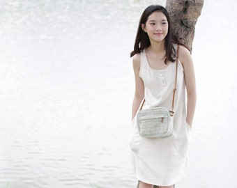 Crossbody Bags Hand Woven Eco Friendly and botanical dyed Cotton Little Tan Midi Green Color.