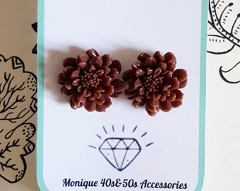 Orecchini Earrings Repro 1940's 1950's Pin Up Rockabilly Style Chocolate Dahlia Vintage Inspired
