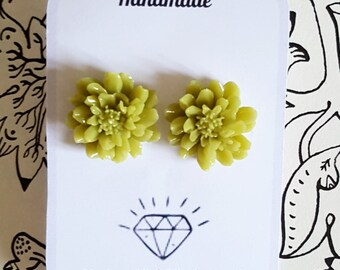 Orecchini Earrings Repro 1940's 1950's Pin Up Rockabilly Style Lime Dahlia Vintage Inspired