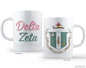 DZ Delta Zeta Crest Sorority Mug