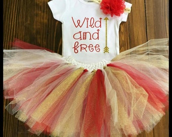 Wild and Free Tutu Set, Red Gold White,  Child tutu set, Photo Shoot, Birthday,Special Occasion/Night Out, Handmade