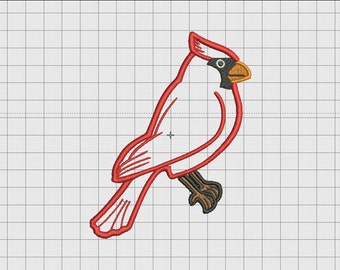 Cardinal Bird 1 Layer Applique Embroidery Design in 4x4 5x5 and 6x6 Sizes