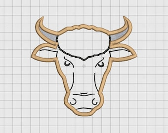 Cow Bull Applique Embroidery Design in 3x3 4x4 5x5 and 6x6 Sizes