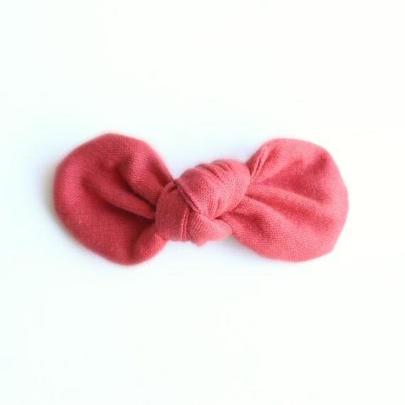 Poppy Fabric Bow : Knotty Gal Style on a Clip or Nylon Headband  // Machine Washable