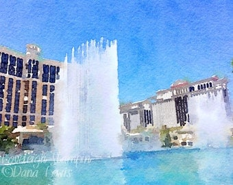 Watercolor Las Vegas Bellagio Fountains Art Digital Photo