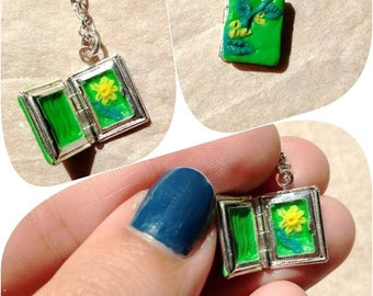 Lovely Little Lockets, Daffodil, polymer clay, miniature art, botanical art, floral, wearable art necklace,