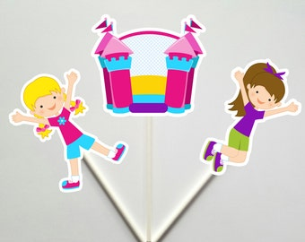 Bounce House Cupcake Toppers, Bounce Party Cupcake Toppers, Bounce Party, Girls Bounce Party
