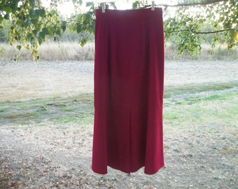 Retro 90s Pretty COWGIRL STEAMPUNK MICROFIBER Long Reddish Rust Skirt, Front Pleat and  a little flare on bottom, M