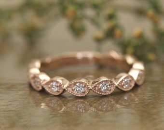Pear Shape Diamond Band in 14k Rose Gold, 3/4 Eternity, 3mm Wide, Round Cut Diamonds Pear Shapes with Beaded Milgrain, Lucy A