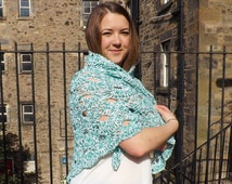 lace shawl, cotton shawl, triangle scarf, cotton lace scarf, boho wedding, boho wrap, crochet shawl, green and white, gift for her, cowl,