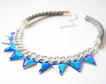 Silver Rope Cord Triangles Rhinestone Statement Necklace