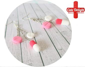 White Pink and Red Pills Earrings, Pill Earrings, Custom pills earrings, green pills accessories, cute pills earrings, pills jewelry