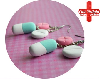 Turquoise & Pink Pills Earrings, Pill Earrings, Custom pills earrings, green pills accessories, cute pills earrings, pills jewelry, pills