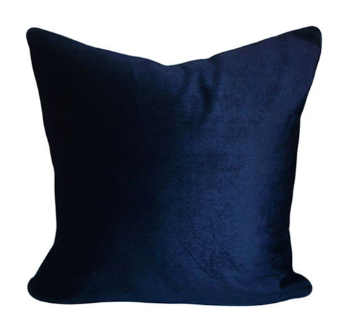 Blue Velvet Throw Pillows : Navy Blue Velvet Decorative Pillow Cover Throw by PillowTimeGirls