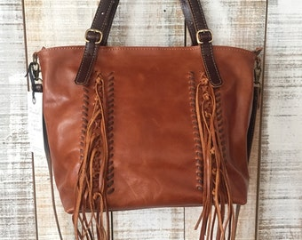 Fringe leather bag, brown leather crossbody, fringes shoulder bag