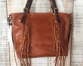 Fringe leather bag, brown leather crossbody, fringes shoulder bag