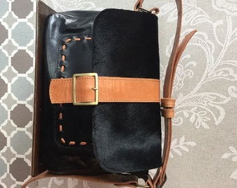 Black cowhide bag, leather crossbody bag, black shoulder bag, Messenger