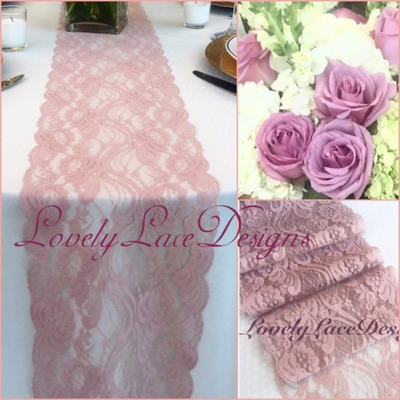 Dusty Rose Mauve Lace Table Runner 3ft 10ft By