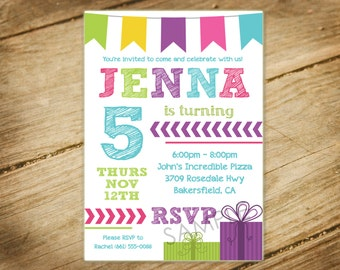 Colorful Birthday Invitation / Chevron / Tribal Theme Invitation