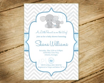 Little Peanut / Momma and Baby Elephant Themed Baby Shower Invitation