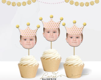Crown Birthday  Cupcake Toppers