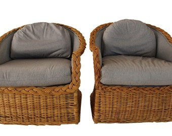 Pair of Vintage Large Wicker Chairs 1980's