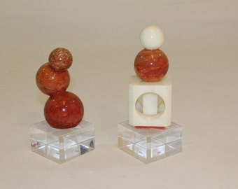 Vintage Mid Century Modern Pair Marble on Lucite Abstract Sculptures