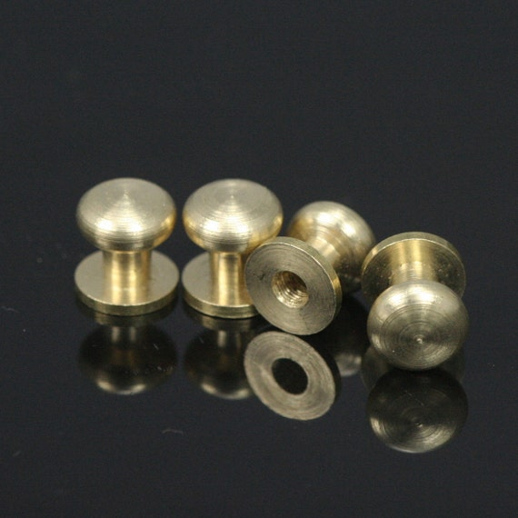 "4 pcs  8 x 9 mm Raw Brass Studs, Shirt Collar Tuxedo Stud, Industrial with 1/8"" thread hole with  brass 1/8"" bolt csc8"