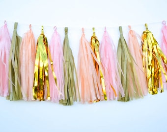 Peach Pink Tassel Garland Rustic Outdoor Wedding Decor, Shower Decorations diy garland kit, Pink Polka dot Gold tissue Garland Peach tissue