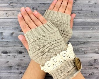 Oatmeal knit fingerless gloves with vintage lace trim and button accent