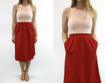 Vintage 70's Fire Red Skirt // Vintage Skirt, Long Skirt, Red Skirt, maxi skirt, professional skirt