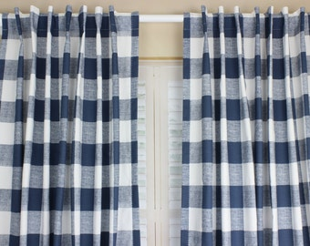 Navy Blue Buffalo Plaid Curtain Panel Set Plaid Curtains Navy Blue Nursery  Curtains Boy Nursery Curtains