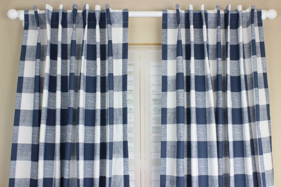 Navy Blue Plaid Curtains Chocolate Plaid Curtains