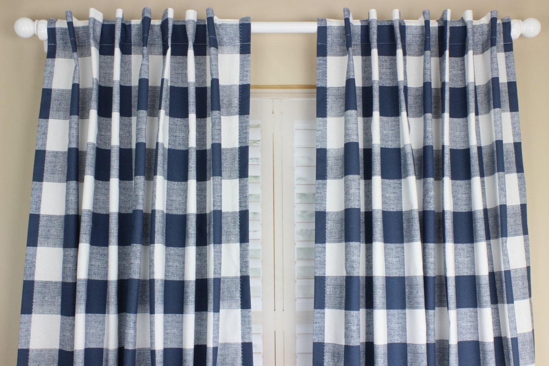 Navy Blue Buffalo Plaid Curtain Panel Set Plaid Curtains Navy