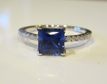 Sapphire Engagement Ring  Princess Cut Chatham Sapphire and Diamonds  Promise Ring  Right Hand Ring