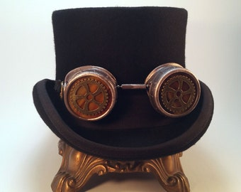 Hand Painted Steampunk Goggles - Metallic Bronze, Brass & Copper - Victorian Goggles - Steampunk Gears - Stained Glass Lenses
