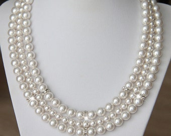 Pearl Bridal Necklace, Pearl Necklace, Bridal Jewellery Necklace, Wedding Jewellery Necklace, Necklace for Bride, Wedding Necklace n04