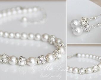 Wedding Jewelry Set, Swarovski Pearl Bridal Jewelry Set, Pearl Necklace Earrings Bracelet Set, e01-b01-n10